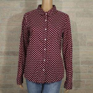 Halogen Red Apple Print Button Front Cotton Shirt